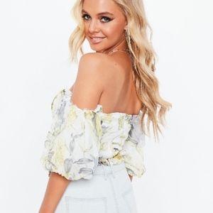Off The Shoulder Floral Bardot Top